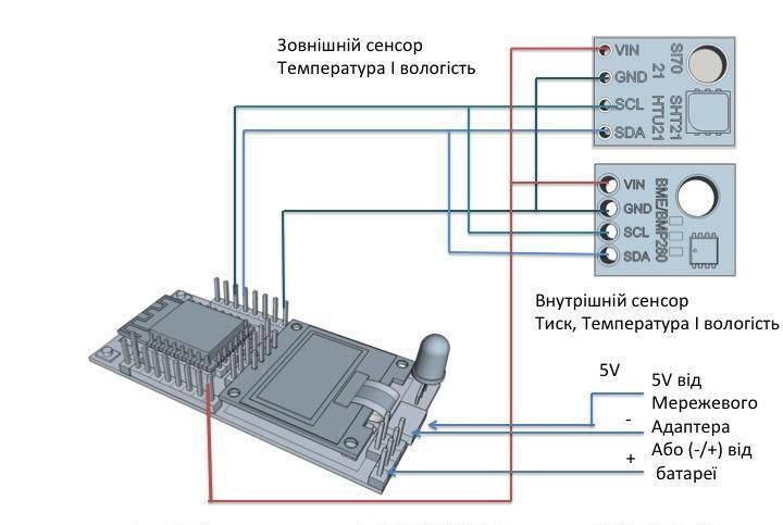 Підключаемо сенсори тиску, температури і вологості до контроллера ESP12.OLED_V1